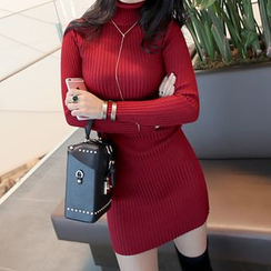 Seoul Fashion - Turtle-Neck Rib-Knit Bodycon Dress