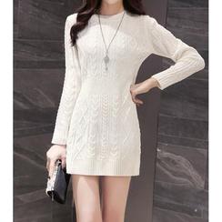 Cotton Candy - Long-Sleeve Sheath Knit Dress