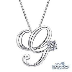 Leo Diamond - Initial Love 18K White Gold Diamond Pendant Necklace (16') - 'G'