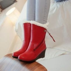Pastel Pairs - Furry Trim Wedge Boots