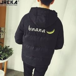 Jacka - Banana-Embroidered Hooded Padded Coat