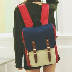Youme - Colour Block Canvas Backpack