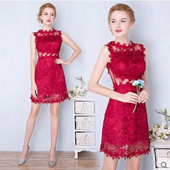 Gracia - Sleeveless Lace Party Dress