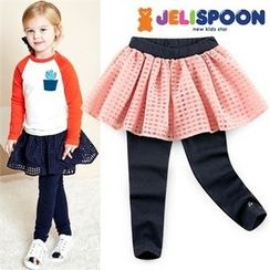 JELISPOON - Girls Inset Mesh Mini Skirt Leggings