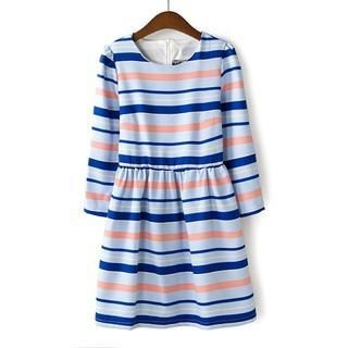 Flower Idea - Elbow-Sleeve Striped Dress