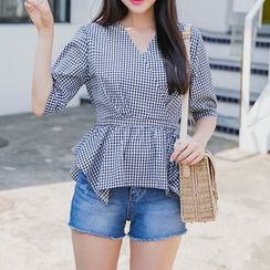 Envy Look - Button-Back Ruffle-Hem Gingham Top