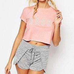 Richcoco - Lettering Short Sleeve Cropped T-Shirt
