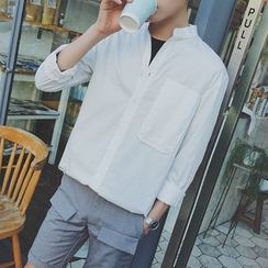 Danjieshi - Plain Stand Collar Long-Sleeve Shirt