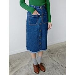 FROMBEGINNING - Button-Front Denim Midi Skirt