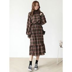 BBAEBBAE - Smocked Mock-Neck Plaid Long Dress
