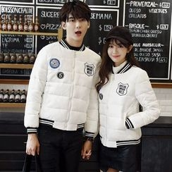 CASSY - Couple Matching Applique Padded Zip Jacket