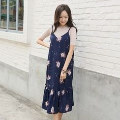 Envy Look - Spaghetti-Strap Floral Print Ruffle-Hem Dress