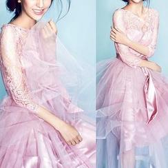 Beautiful Wedding - Elbow Sleeve Lace Panel Evening Dress
