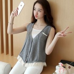 Cotton Candy - V-neck Lace Panel Knit Vest