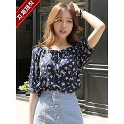BBAEBBAE - Tie-Neck Floral Pattern Top