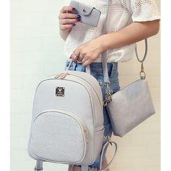 Merlain - Set: Faux Leather Backpack + Crossbody Bag + Card Holder