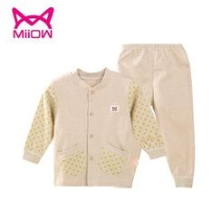 MiiOW - Kids Set: Polka Dot Buttoned Jacket + Pants