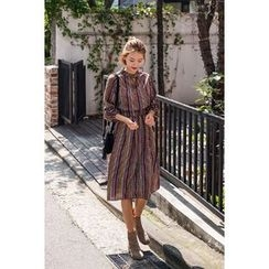 migunstyle - Mock-Neck Pattern Dress