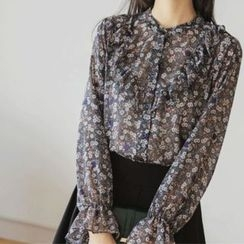 JUSTONE - Frilled Flower Pattern Chiffon Blouse