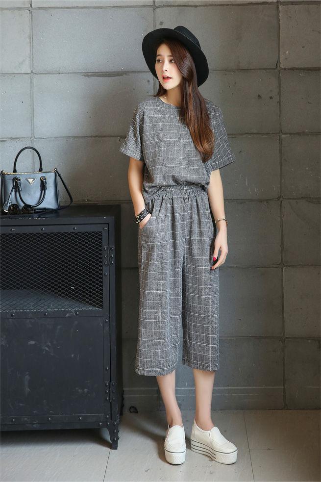 Fashion Street Set Short Sleeve Plaid Top Cropped Wide