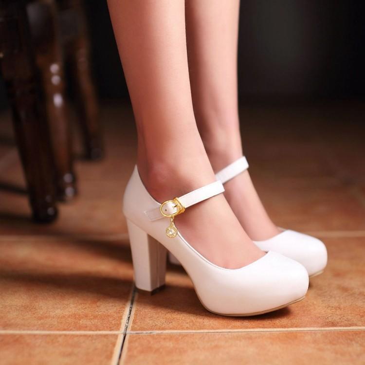 White Mary Jane Heels