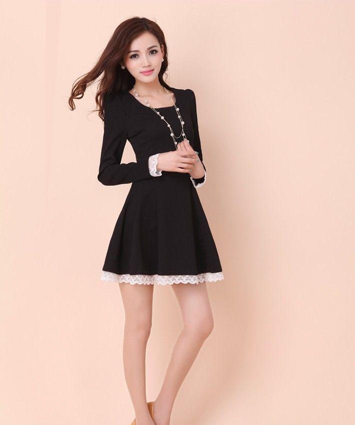 JVL Long-Sleeved Lace Trim A-Line Dress | YESSTYLE