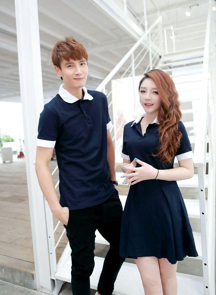 Cobogarden couple 39 s contrast collar polo shirt polo for Couple polo shirts online